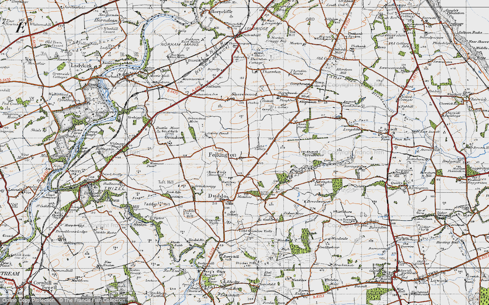 Old Map of Historic Map covering Lickar Moor in 1947