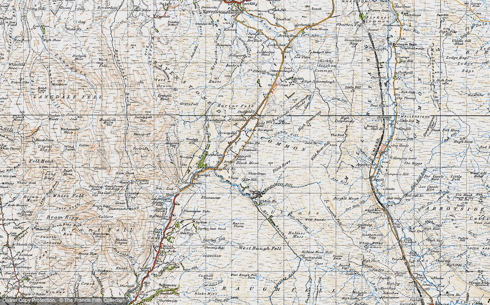 Old Map of Historic Map covering Backside Beck in 1947