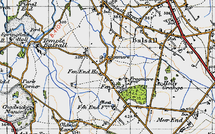 Old map of Balsall Lodge in 1947