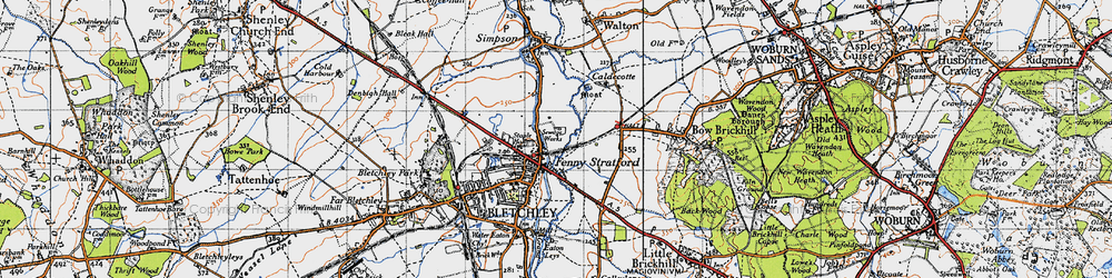 Old map of Fenny Stratford in 1946