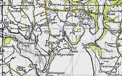 Old map of Feock in 1946
