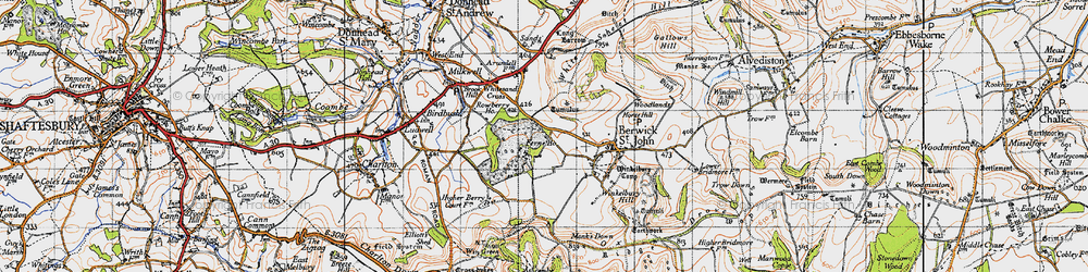 Old map of Win Green in 1940