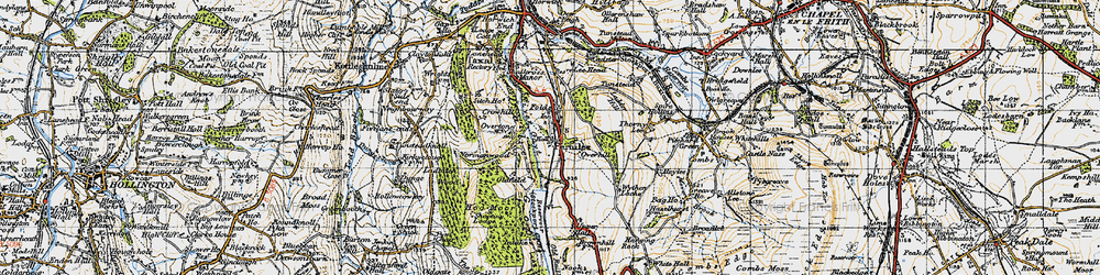 Old map of Wythen Lache in 1947