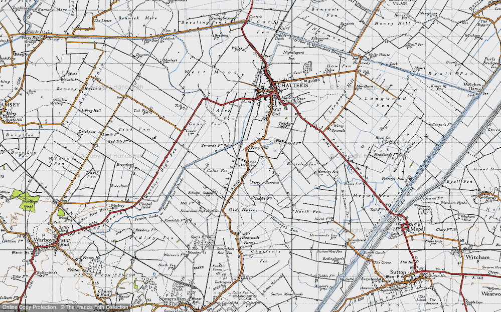 Old Map of Historic Map covering Acre Fen in 1946