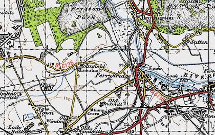 Old map of Ferrybridge in 1947