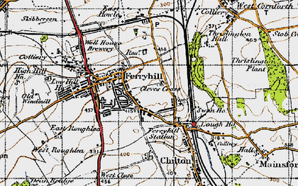 Old map of Ferryhill in 1947