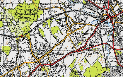 Old map of Fetcham in 1945
