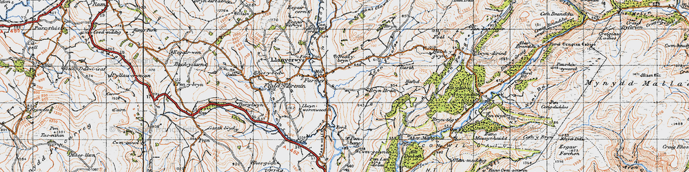 Old map of Afon Fanafas in 1947