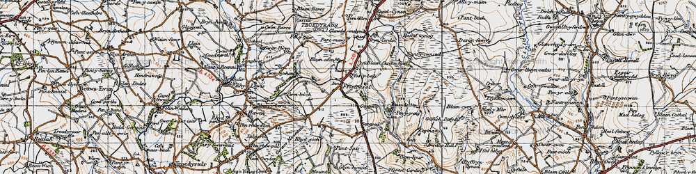 Old map of Wstrws in 1947