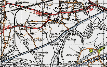 Old map of Fiddler's Ferry in 1947