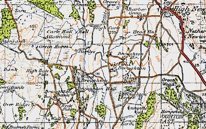 Old map of Field Broughton in 1947