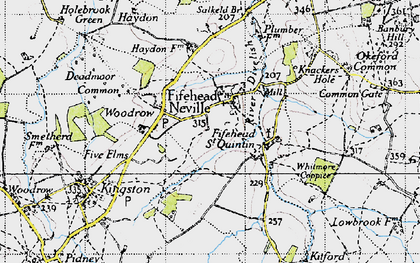 Old map of Fifehead Neville in 1945