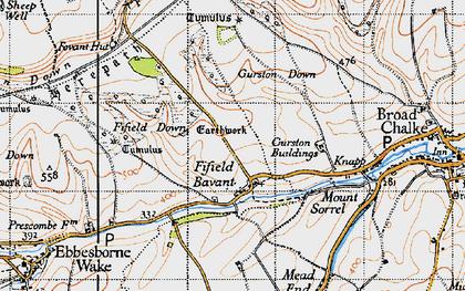 Old map of Fifield Bavant in 1940