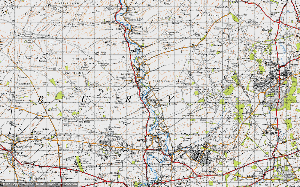 Old Map of Historic Map covering Ablington Furze in 1940