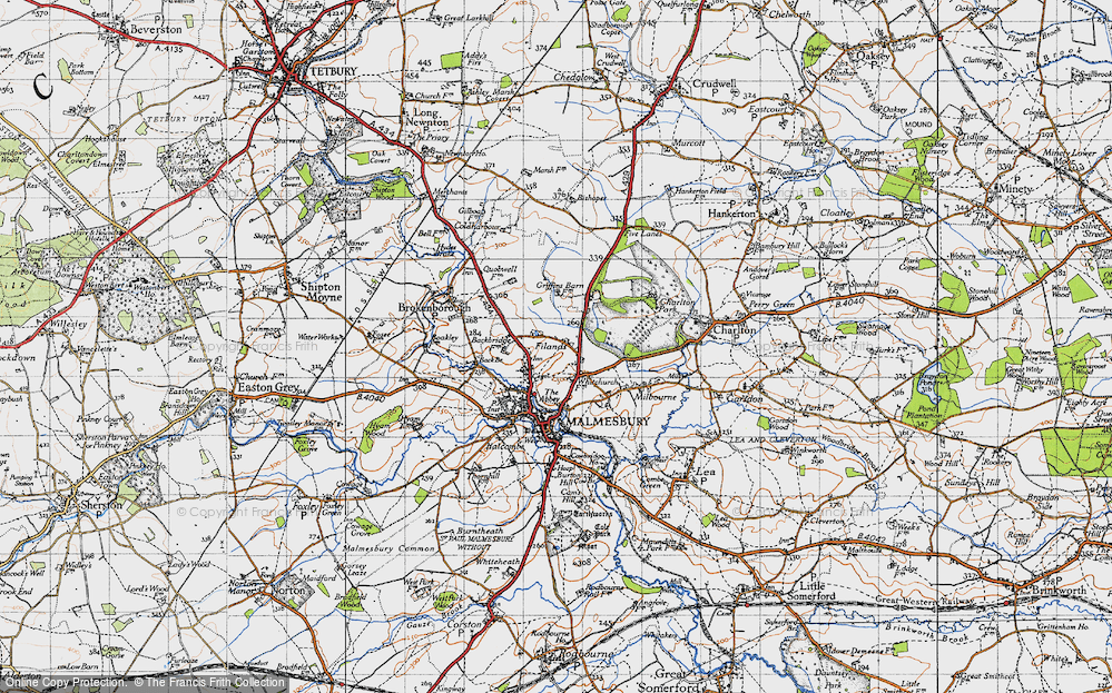 Old Map of Historic Map covering Back Br in 1947