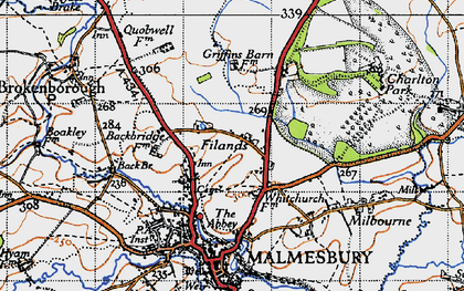 Old map of Back Br in 1947