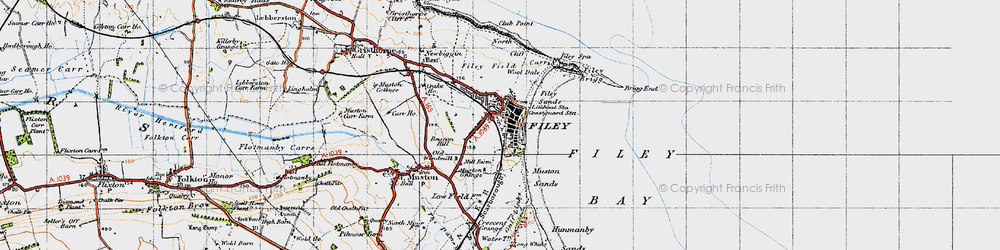 Old map of Filey in 1947