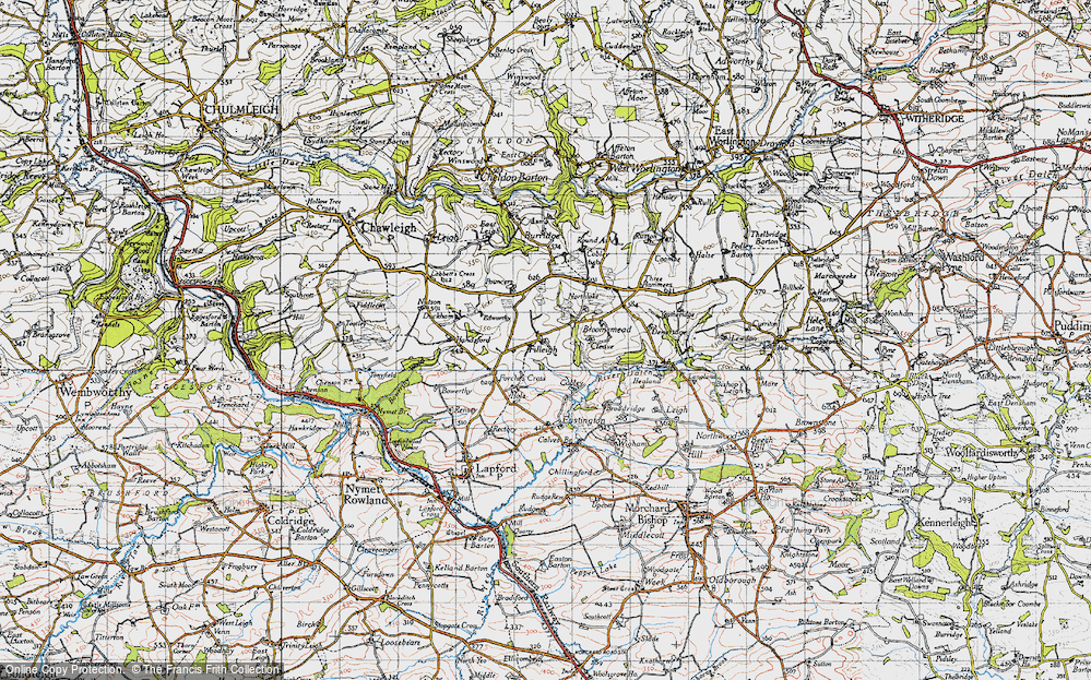 Old Map of Historic Map covering Lewdon in 1946