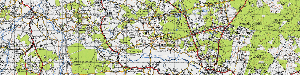 Old map of Finchampstead in 1940