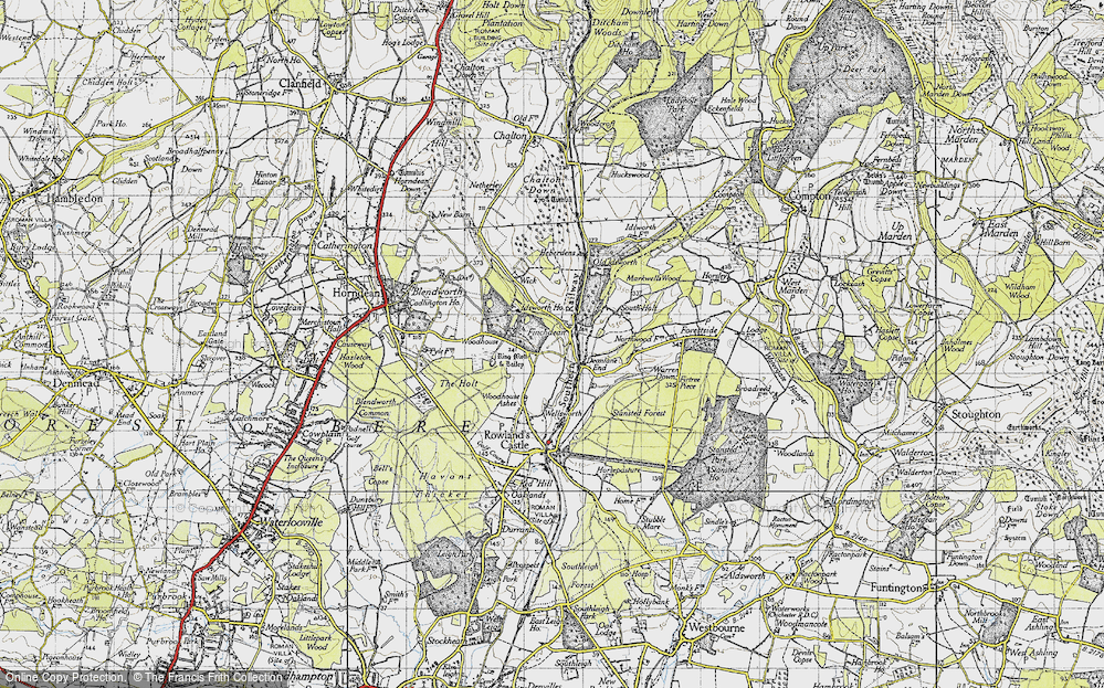 Old Map of Historic Map covering Woodhouse in 1945