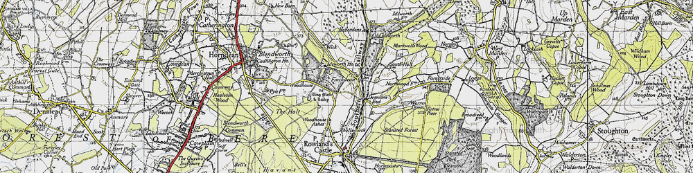 Old map of Woodhouse in 1945