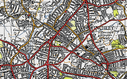 Old map of Finchley in 1945