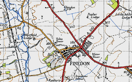 Old map of Finedon in 1946