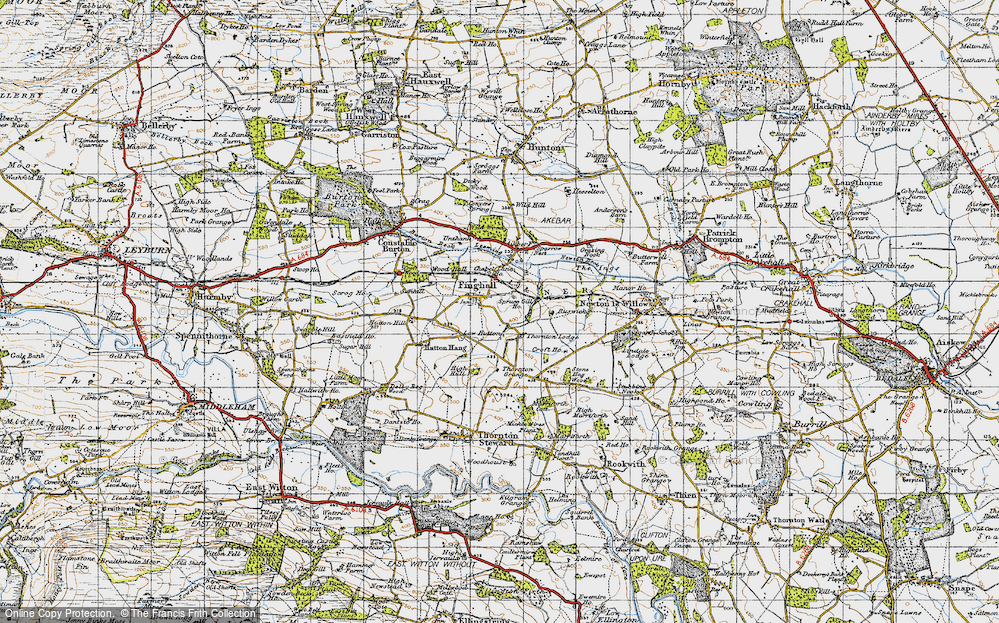 Old Map of Historic Map covering Leeming Beck in 1947
