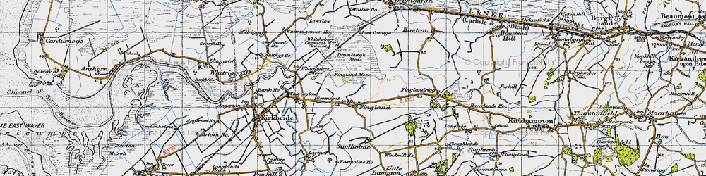 Old map of Whitrigglees in 1947