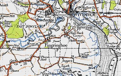 Old map of Fingringhoe in 1945