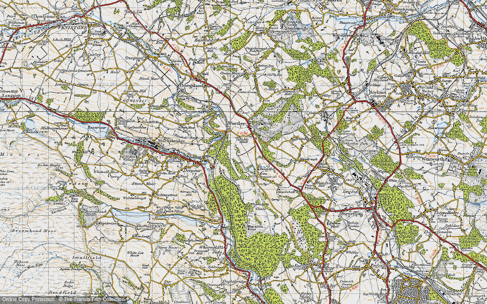 Old Map of Historic Map covering Wharncliffe Resr in 1947