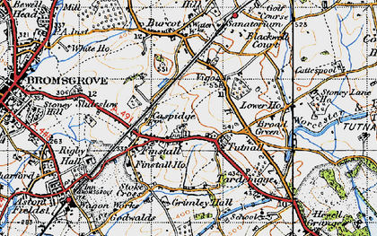 Old map of Lickey Incline in 1947