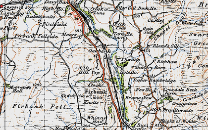 Old map of Whinny Haw in 1947