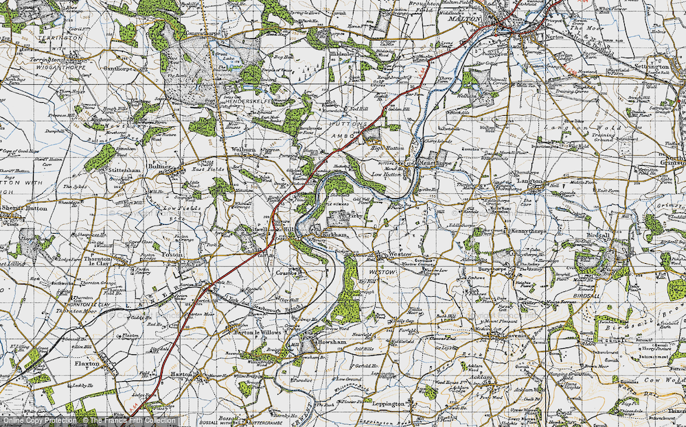 Old Map of Historic Map covering Badger Bank in 1947