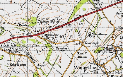 Old map of Firsdown in 1940