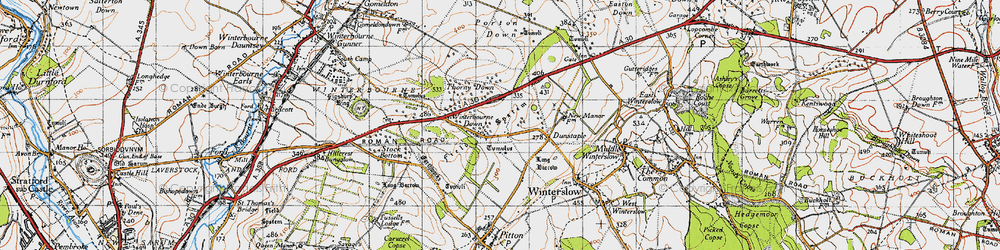 Old map of Winterbourne Down in 1940
