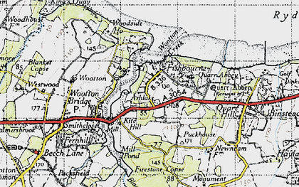 Old map of Wootton Creek in 1945