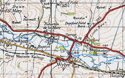 Old map of Wylye Valley in 1940