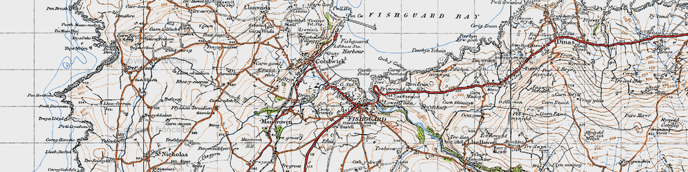 Old map of Fishguard in 1947