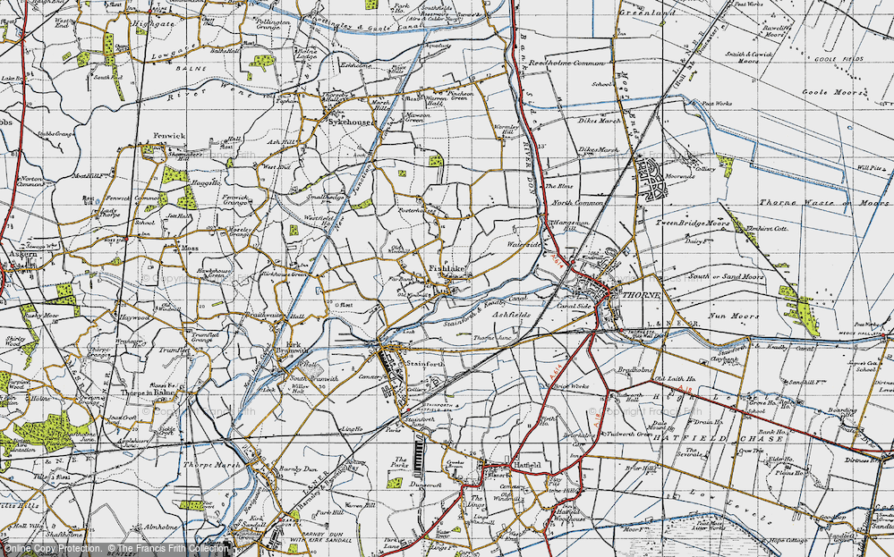Old Map of Historic Map covering Ashfields in 1947