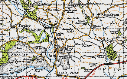 Old map of Leathley Grange in 1947