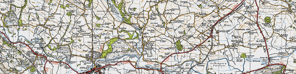 Old map of Leathley Br in 1947