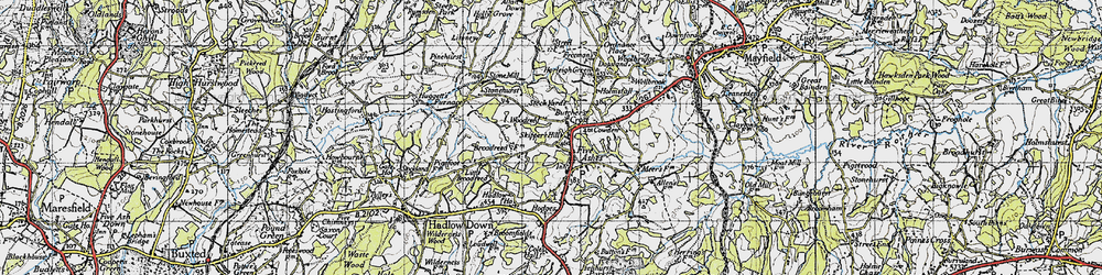 Old map of Five Ashes in 1940