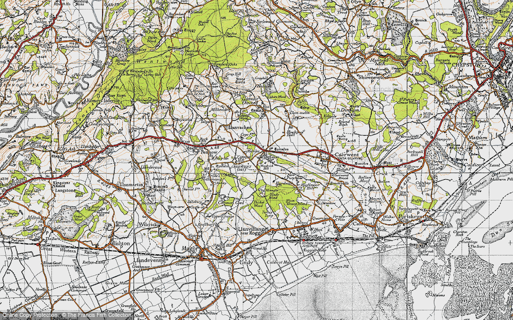 Old Map of Historic Map covering Woodcock Hill in 1946
