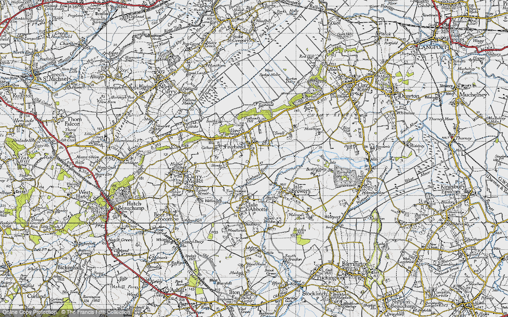 Old Map of Fivehead, 1945 in 1945