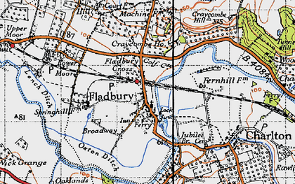 Old map of Fladbury in 1946