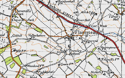 Old map of Flamstead in 1946