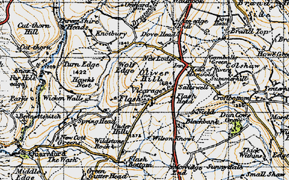 Old map of Wildstone Rock in 1947