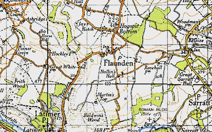 Old map of Flaunden in 1946