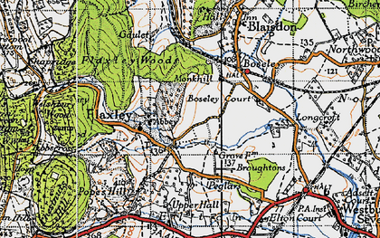 Old map of Flaxley in 1947